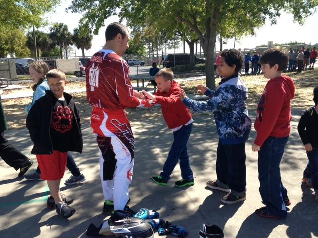McGill gave out a whole lot of high fives at Park Elementary School this morning