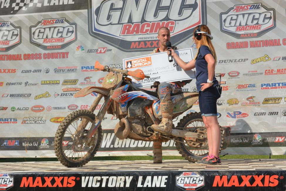 $100 in DigitalOffroad.com holeshot money went to Michael McGinnis