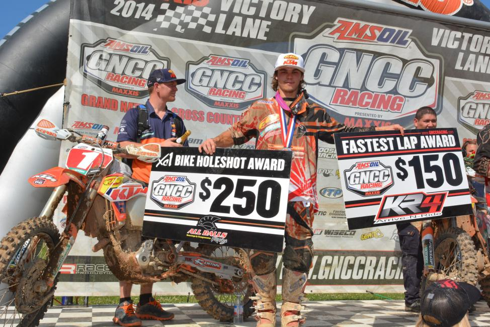 Kailub Russell secured the $250 All Balls Racing Holeshot Award and KR4 Performance Fastest Lap Award
