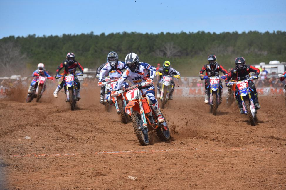 Russell also took the $250 All Balls Racing Holeshot Award surrounded by Yamaha machines Photo: Ken Hill