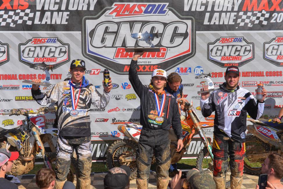 XC1 Podium: (left) Josh Strang, Kailub Russell, (right) Thad DuVall Photo: Ken Hill