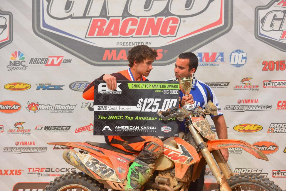 Kentucky's Vance Francis captured the $125 American Kargo Top Amateur Award with a big win over Anthony Stone in the 250 A class, earning 22nd overall for the day. Photo: Ken Hill
