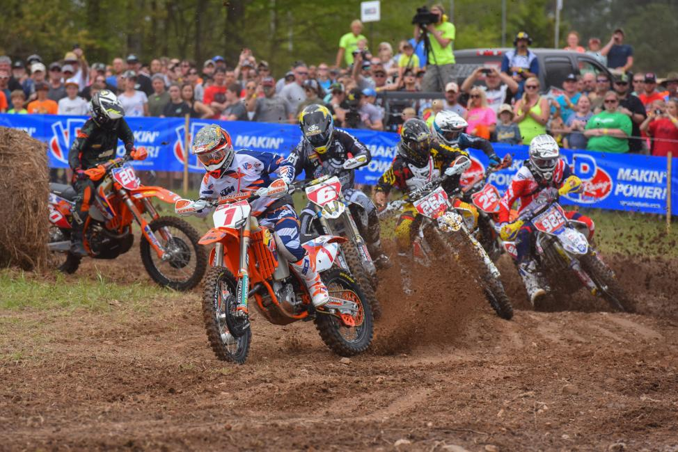 Kailub Russell earned the $250 All Balls Racing Holeshot where he was able to get an early lead on the group Photo: Ken Hill