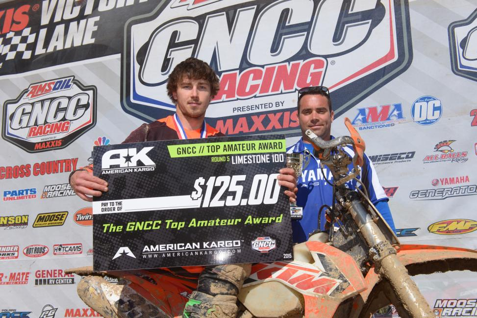 Vance Francis took home the $125 for the American Kargo Top Amateur Award for his win in the 250 A classPhoto: Ken Hill
