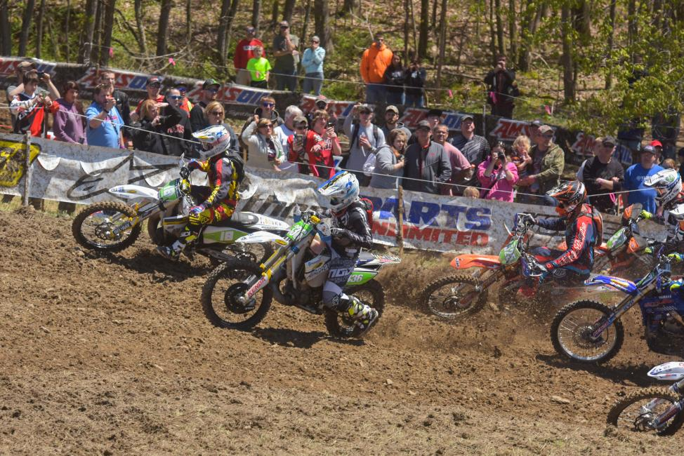 Ryder Lafferty (#336) and Craig DeLong (#18) got a good jump off the line in the XC2 Pro Lites classPhoto: Ken Hill