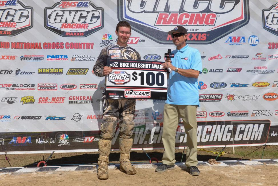Ryder Lafftery captured the $100 Hot Cams XC2 Pro Lites Holeshot AwardPhoto: Ken Hill