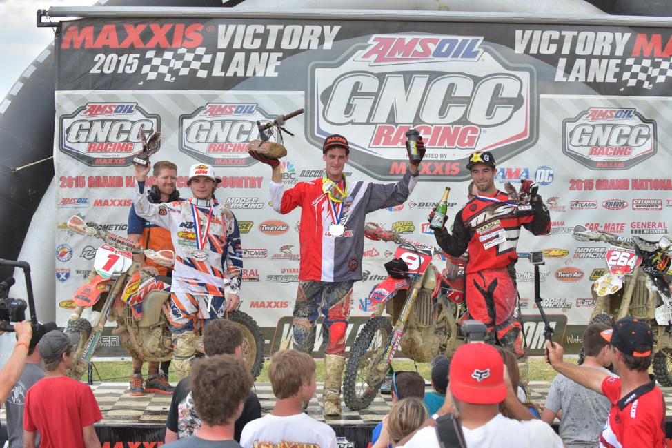 XC1 Podium: Chris Bach (center), Kailub Russell (left) and Ryan Sipes (right) Photo: Ken Hill