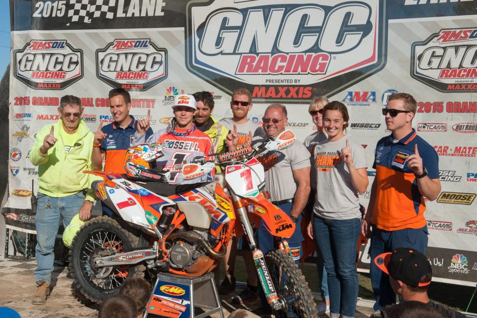 Kailub Russell clinched the 2015 GNCC National Championshipat the last round in New York.Photo: Ken Hill
