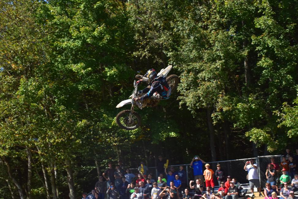 Ryan Sipes was showing off his motocross skills over Unadilla's skyshot at round 10.Photo: Ken Hill