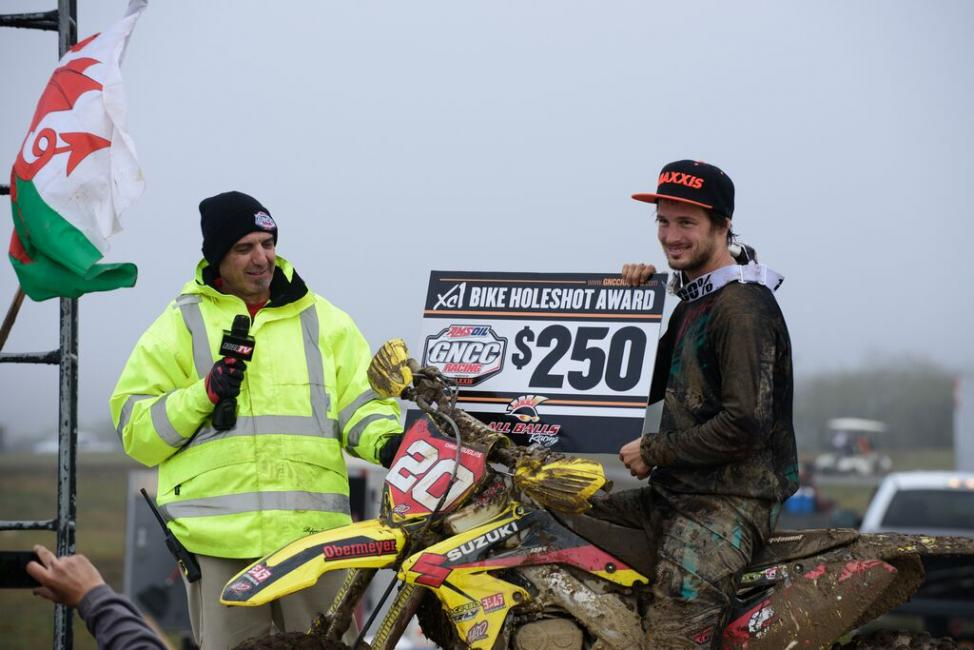 Chris Douglas claims the $250 All Balls Racing XC1 Holeshot Award.Photo: Ken Hill