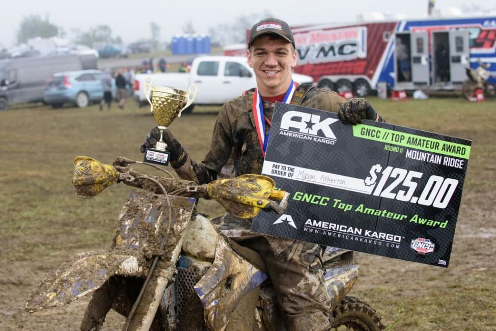 Mason Atherton claims his first American Kargo Top Amateur Award. Photo: Ken Hill