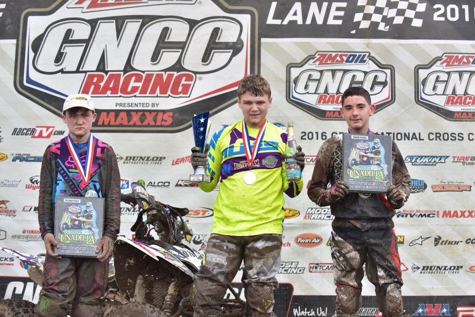 ATV Youth Overall Podium: (2) Casey Simmons, (1) Mikey Nickels, (3) Payton Dalton.Photo: Ken Hill