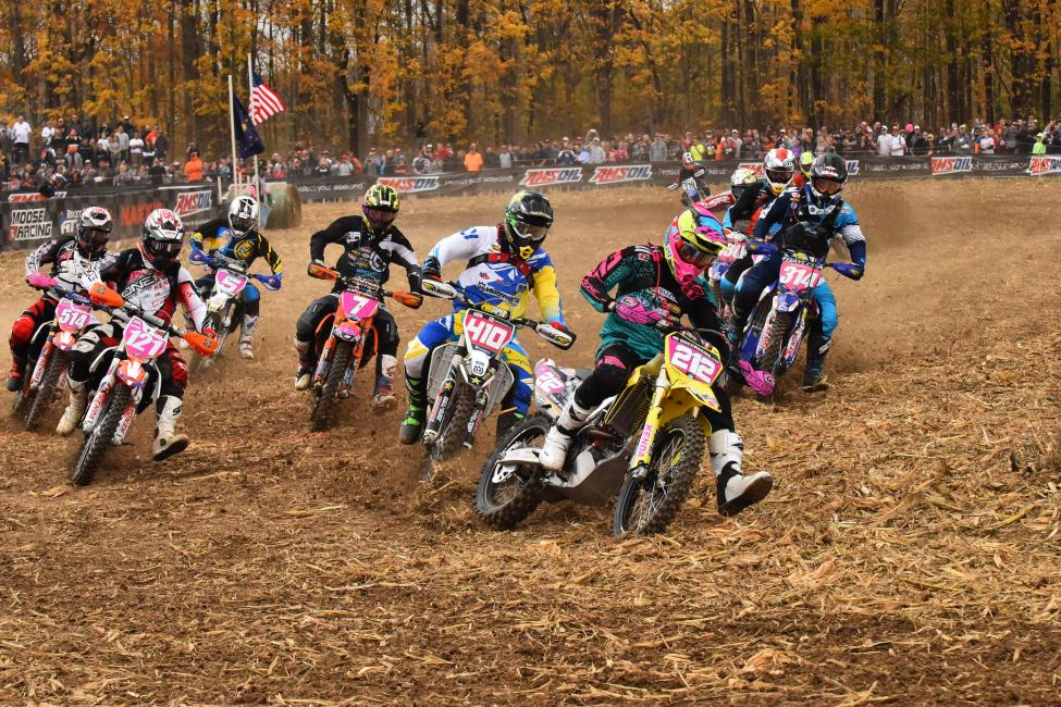 Ricky Russell jumped out to the early lead claiming the $250 All Balls Racing Holeshot Award.Photo: Ken Hill