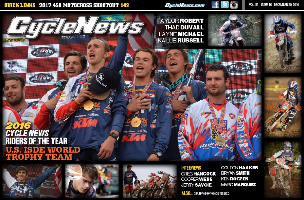 Cycle News has named the 2016 ISDE U.S. World Trophy Team championsthe Riders of the Year.Photo: Cycle News