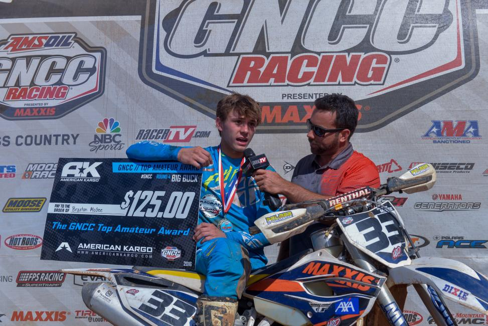Braxton claimed three class wins in 2016 along with a Top Amateur finish at the Big Buck GNCC.