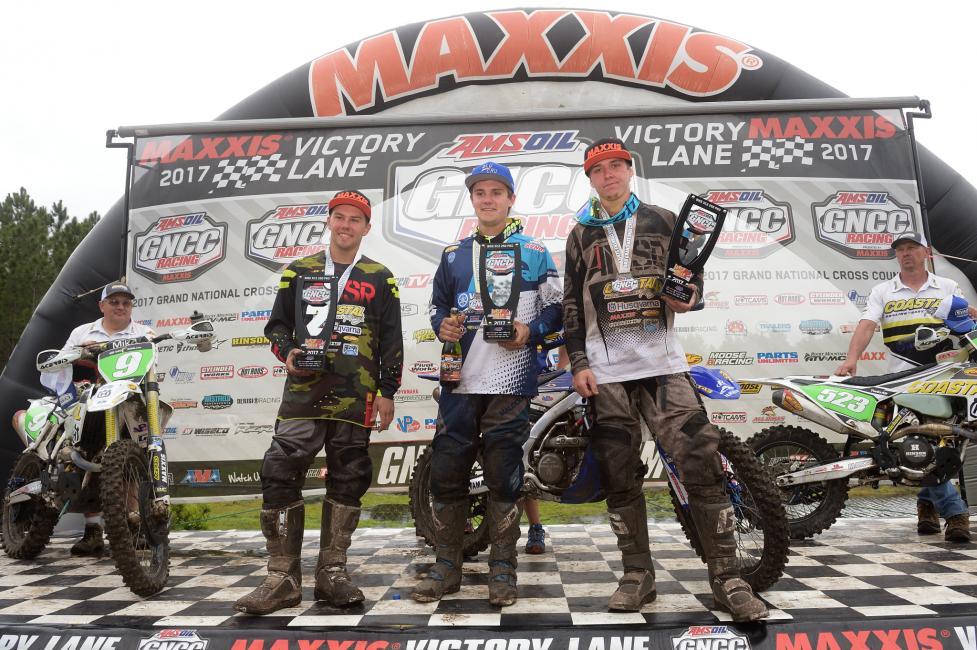 XC2 250 Pro Podium: (2) Craig Delong, (1) Josh Toth, (3) Layne Michael.