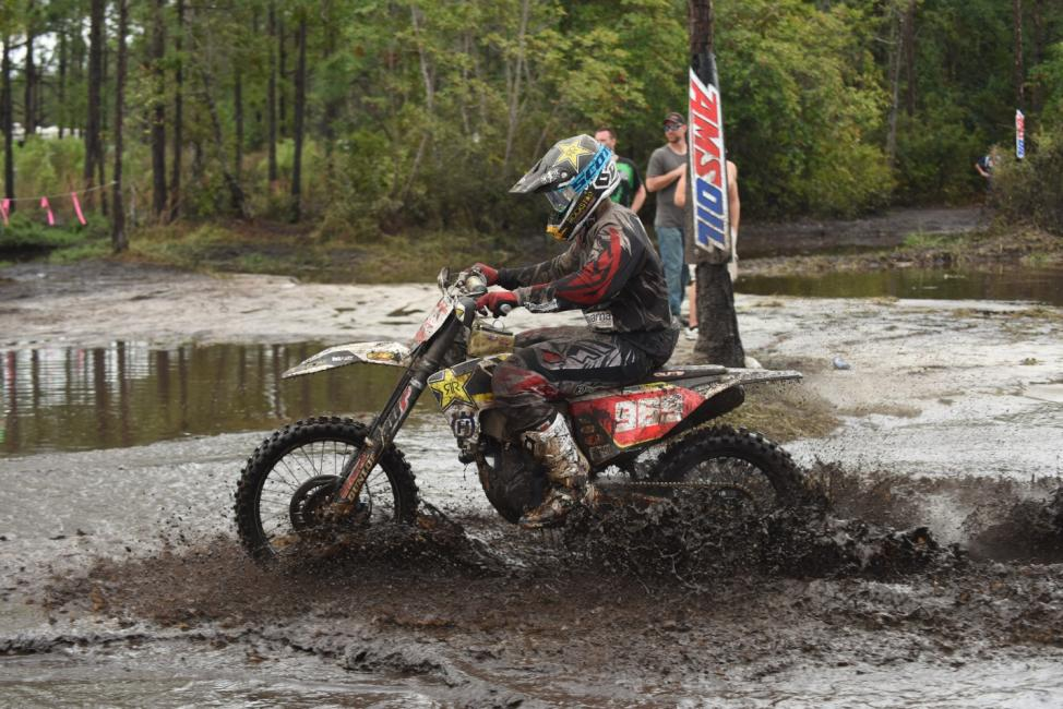 Rockstar Energy Husqvarna Factory Racing's Thad Duvall pushes through the elements to finish GNCC Round 2 in 2nd.