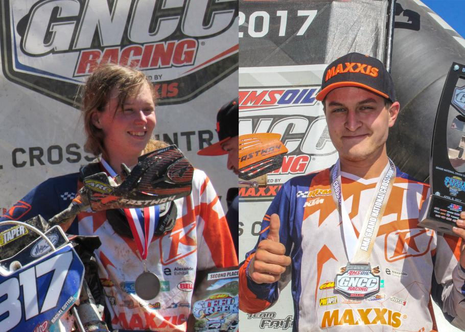 Both Rachel and Mike are all smiles up on the podium for the Steele Creek GNCC.