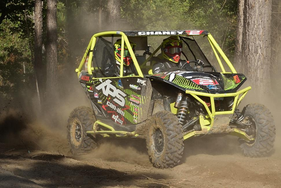 Kyle Chaney drove his Can-Am Maverick X xc 1000R to UTV overall and XC1 Pro UTV class victory at the Camp Coker GNCC in South Carolina to take over the class points lead.