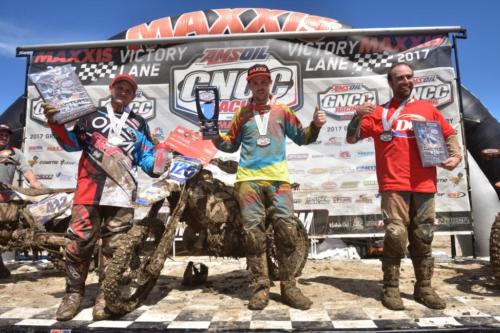 Jason Thomas (center), Mark Heresco Jr. (left) and David Quillen (right) rounded out the FMF XC3 125 Pro-Am class podium.