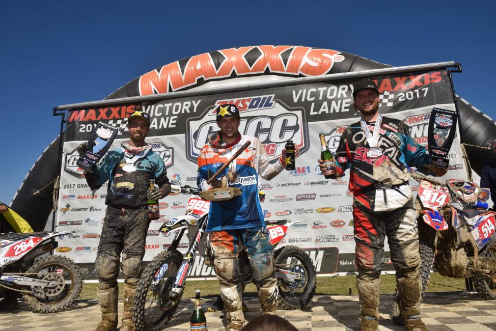Overall Podium: (2) Ryan Sipes, (1) Thad Duvall, (3) Steward Baylor.