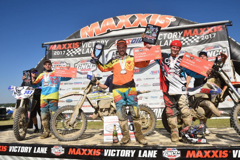 FMF XC3 125 Pro-Am Class Podium: (2) Hunter Neuwirth, (1) Jason Thomas, (3) Mark Heresco.