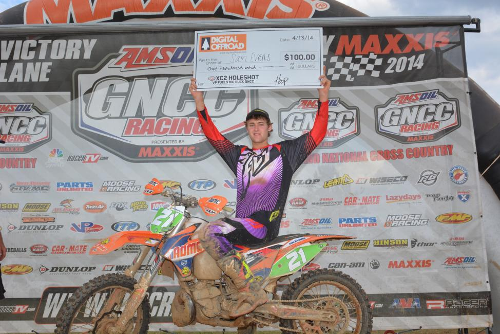 Sam Evans captured the $100 DigitalOffroad.com XC2 Holeshot Award