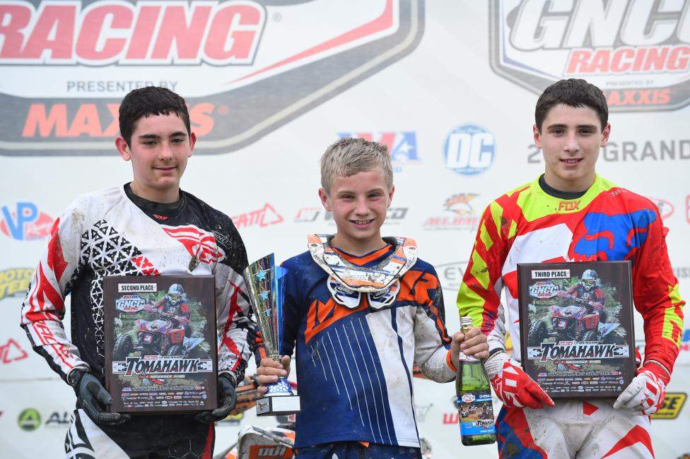 Youth Overall Podium: (2) Payton Dalton, (1) Tim Sroka, (3) Dylan Walraven.Photo: Ken Hill