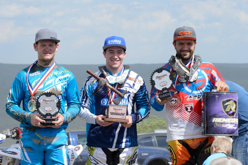 Overall Podium: (2) Chris Borich, (1) Walker Fowler, (3) Adam McGill.Photo: Ken Hill