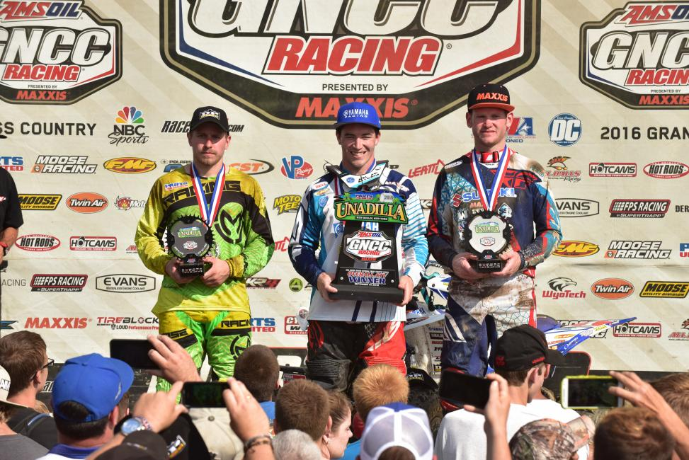 Overall Podium: (2) Jarrod McClure, (1) Walker Fowler, (3) Chris Borich.Photo: Ken Hill