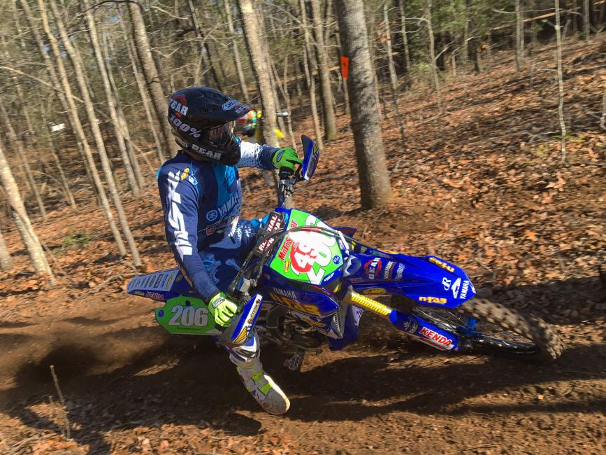 Josh Toth heads to the finish of last weekend's Sumter National Enduro.