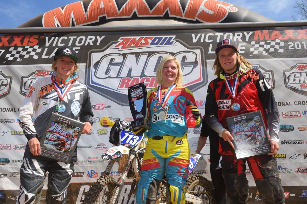 10 a.m. Overall Podium: (2) Becca Sheets, (1) Tayla Jones, (3) MacKenzi Tricker