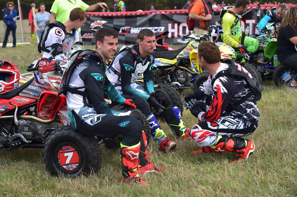 Some good friends, Landon Wolfe, Chris Borich and Kenny Shick, chatting before the 1 p.m. ATV start.