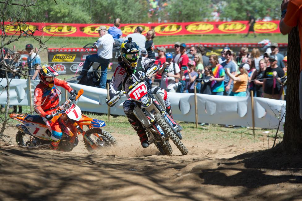 Josh Strang grabbed the holeshot, with Kailub Russell in tow.