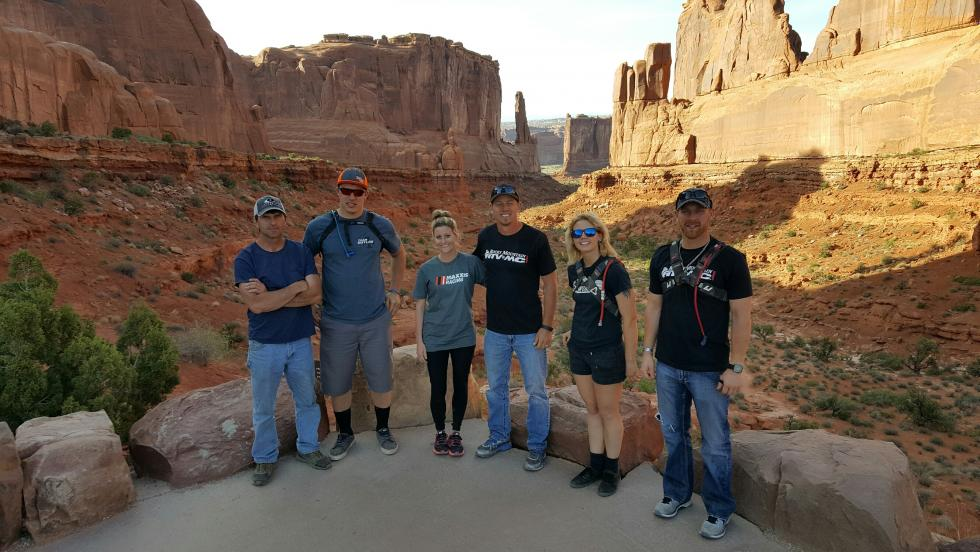 The whole crew toured Arches National Park on Wednesday after riding.