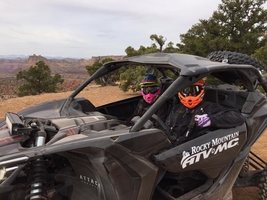 Dustin Hendershot and his wife, Nicole, geared up and ready to take on the Utah terrain!