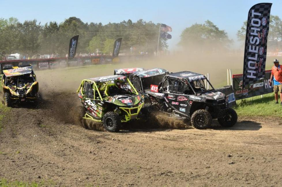 The Yokley Racing Polaris team battled through turn one to grab the holeshot.