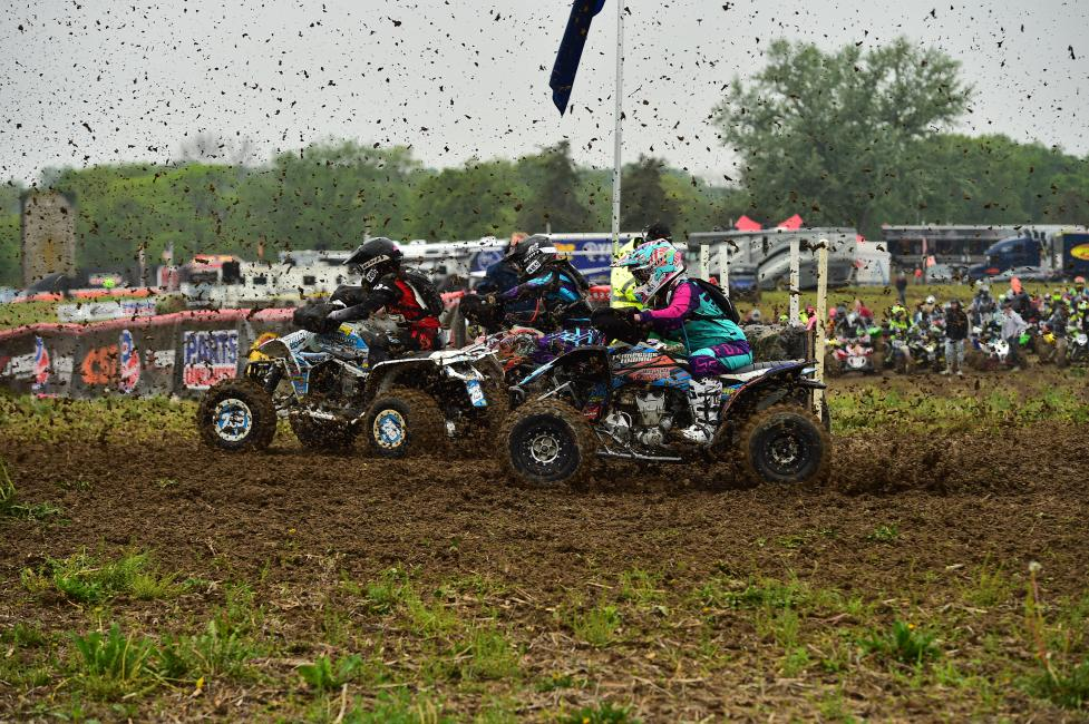 WXC riders battle through the first turn at the inaugural X-Factor GNCC in Peru, Indiana.