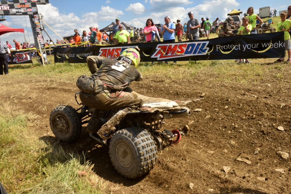 Brycen Neal faced an all-new obstacle on the last lap, where he rode his way to the finish with only three wheels.