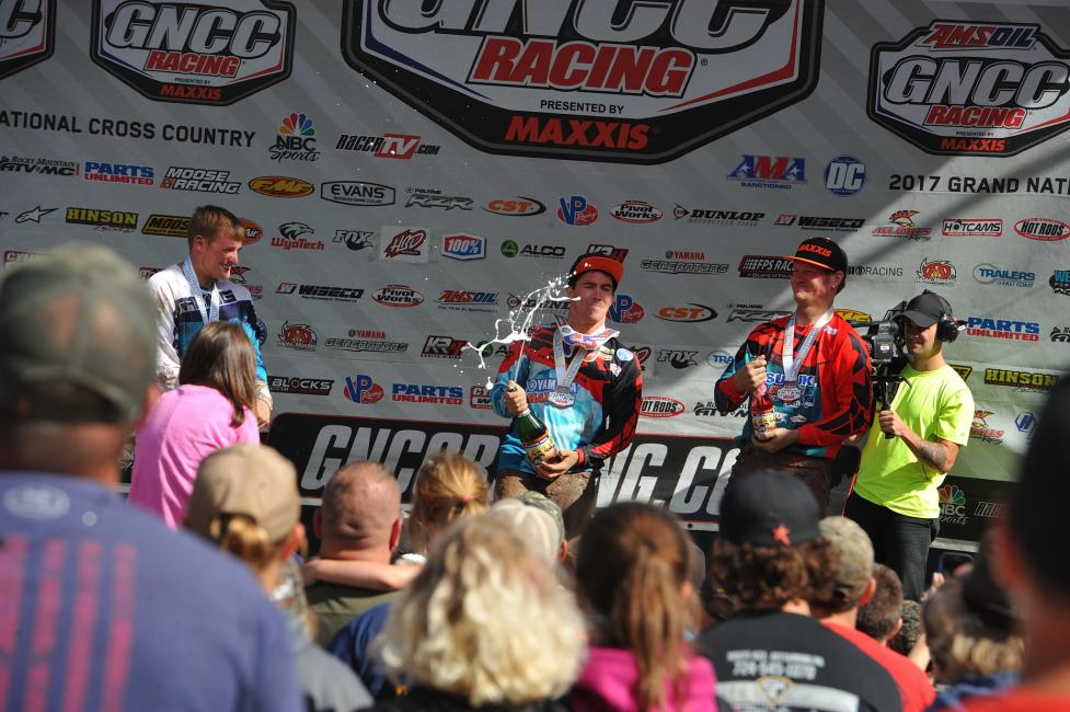 Overall Podium: (2) Kevin Yoho, (1) Walker Fowler, (3) Chris Borich.