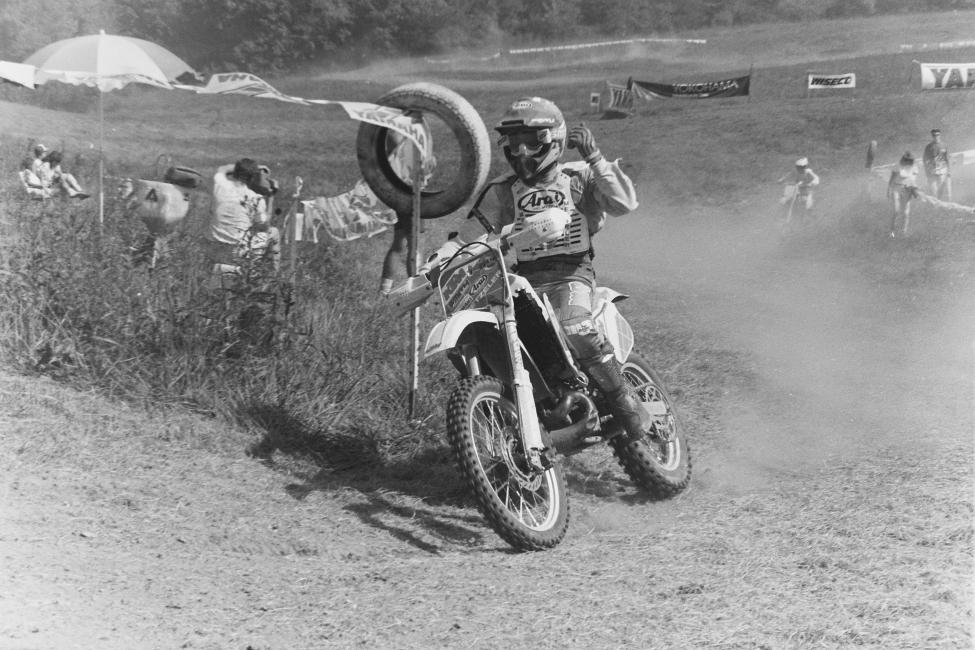 #ThrowbackThursday with Scott Plessinger on his way to the win at the 1991 Burr Oaks GNCC!
