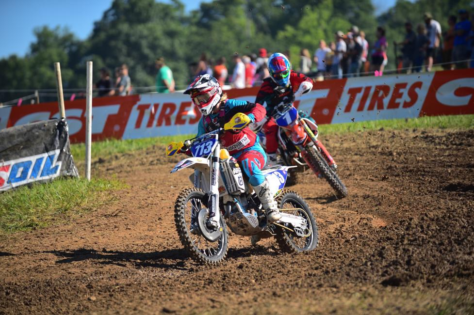 Tayla Jones grabbed the holeshot on Sunday morning, but as they completed lap one Becca Sheets was in the lead.