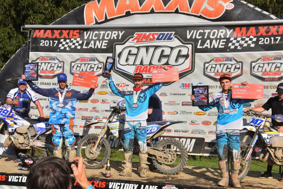 FMF XC3 125 Pro-Am Class: (2) Paul Whibley, (1) Jason Thomas, (3) Hunter Neuwirth.