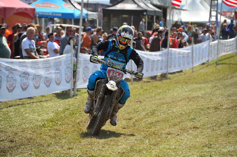 Rockstar Energy Husqvarna Factory Racing's Josh Strang battles to finish Unadilla GNCC round 10.