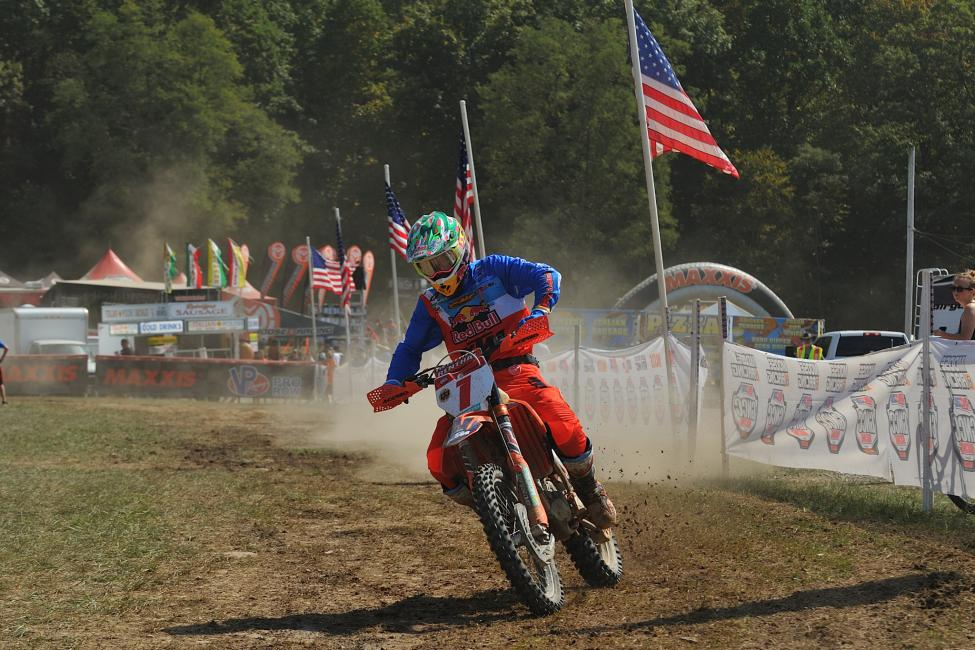 Kailub Russell remains on the hunt for his fifth consecutiveGNCC championship after finishing second overall.