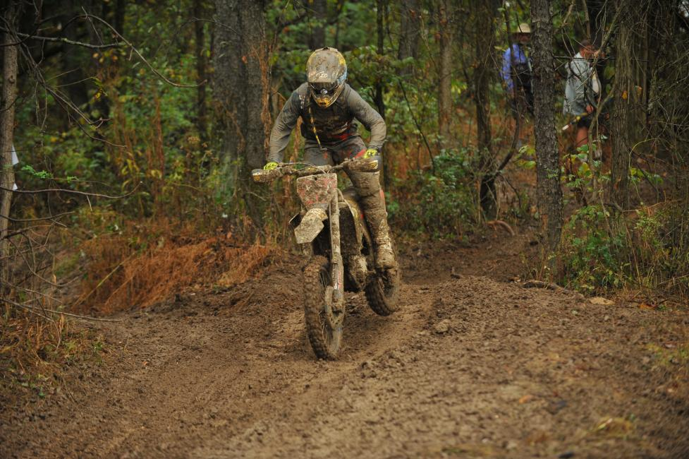 Josh Strang had an excellent day in the muddy conditions, making a podium appearance in second.