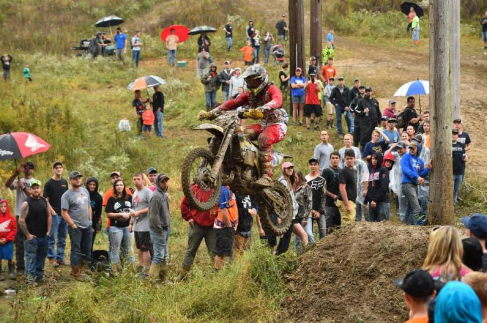 Hunter Neuwirth takes on the infamous creek jump at the Powerline Park GNCC.