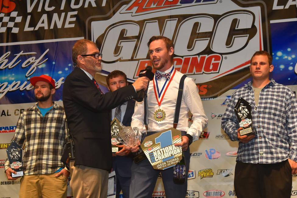 Thomas was awarded the FMF XC3 125 Pro-Am class #1 plate and awards at the 2017 GNCC Night of Champions banquet on December 2.