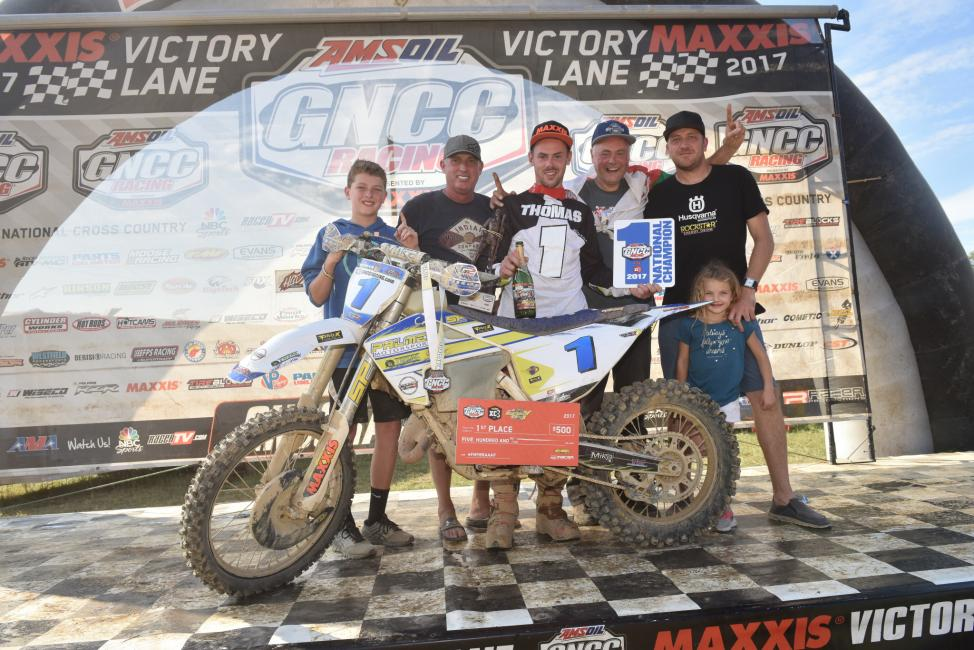 Thomas celebrated his FMF XC3 125 Pro-Am class championship early at the Mountaineer Run GNCC with family and friends.