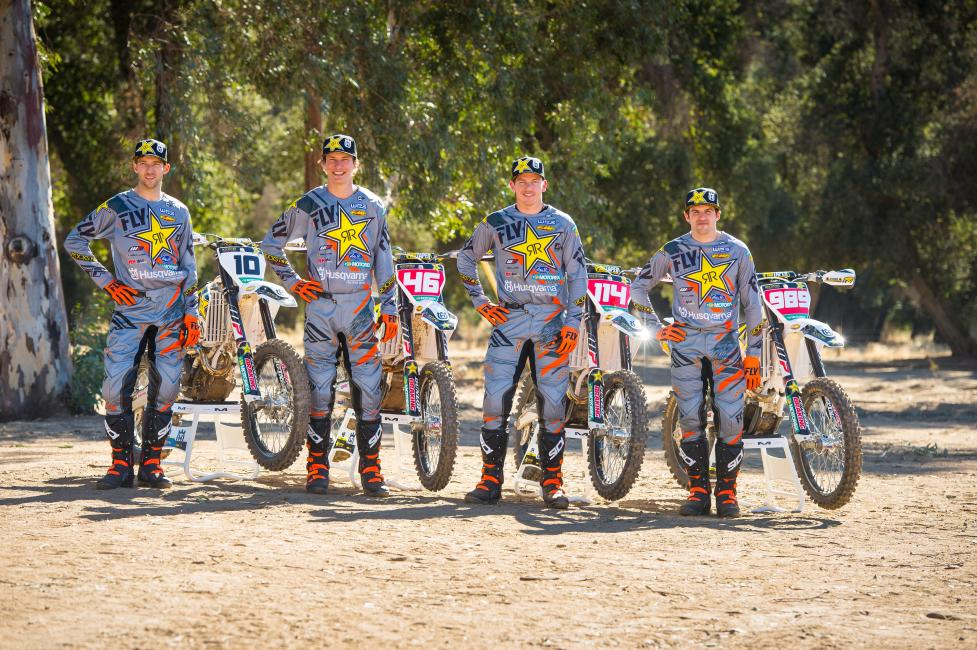Colton Haaker, Dalton Shirey, Josh Strang, and Thad Duvall make up the 2018 Rockstar Energy Husqvarna Factory Racing team.
